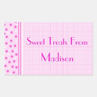 Dulces rosados de la guinga y de los lunares rectangular pegatinas