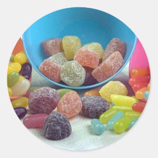 Dulces y caramelo pegatina redonda