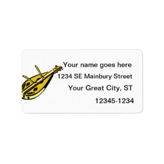 Dulcimer and hammers, musical instrument graphic custom address labels
