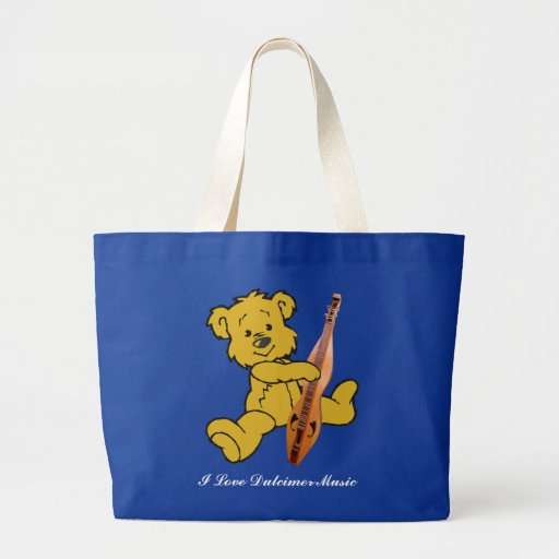 Dulcimer Teddy Bear Large Tote Bag