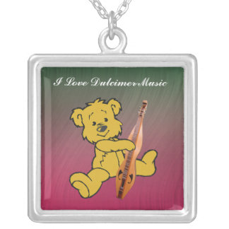 DULCIMER BEAR-NECKLACE SILVER PLATED NECKLACE