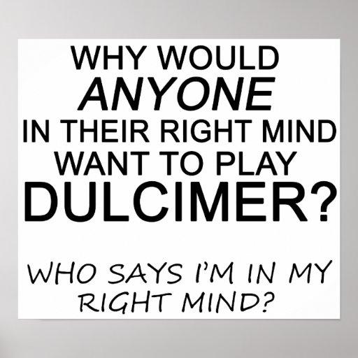 Dulcimer derecho de la mente póster