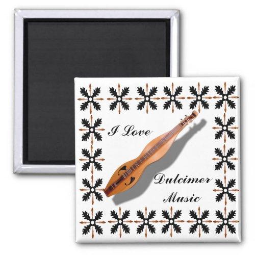 I Love Dulcimer Music 2-inch Square Magnet