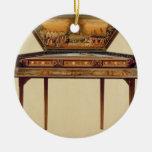 Dulcimer martillado en una caja acústica pintada, adorno redondo de cerámica