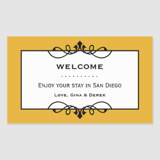 Dull gold wrought iron frame out of town gift bag rectangular sticker