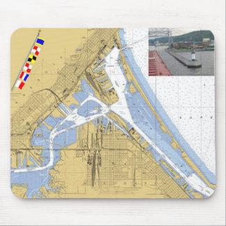 Duluth, banderas de señal de la carta del puerto d tapete de ratones