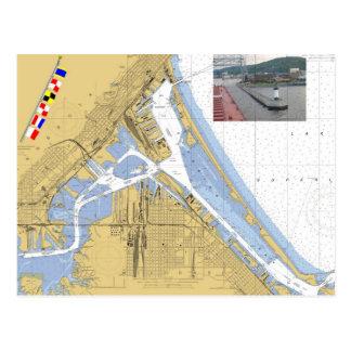 Duluth, banderas de señal de la carta del puerto tarjeta postal