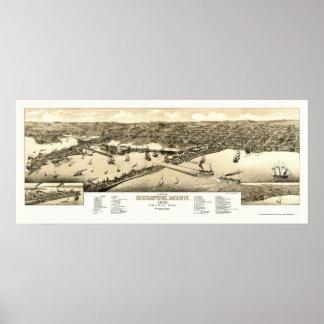 Duluth, mapa panorámico del manganeso - 1883 poster