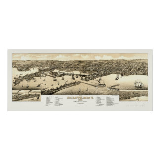 Duluth, mapa panorámico del manganeso - 1883 póster