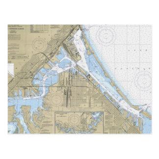 Duluth Minnesota Harbor nautical chart post card
