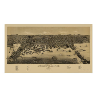 Duluth, MN Panoramic Map - 1887 Poster