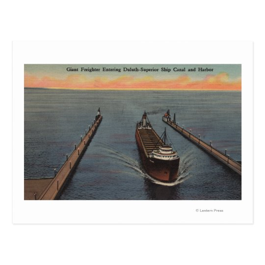 Duluth, MN - View of Freighter Entering Ship Postcard