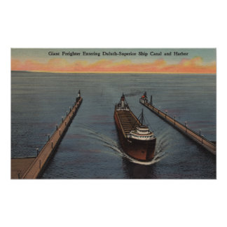 Duluth, MN - View of Freighter Entering Ship Poster