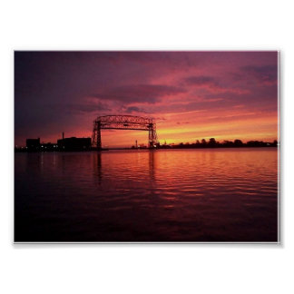 Duluth, puesta del sol del manganeso póster