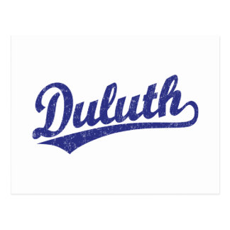Duluth script logo in blue postcard