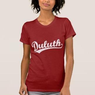 Duluth script logo in white tshirt