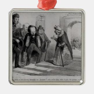 Dumas, Hugo et Balzac seeking their admission Metal Ornament