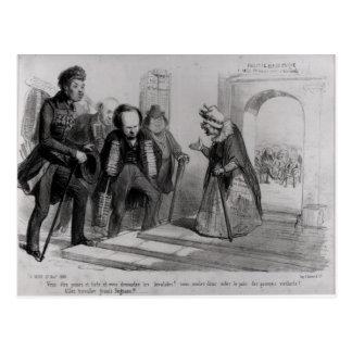 Dumas, Hugo et Balzac seeking their admission Postcard