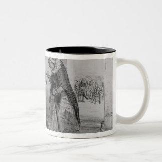 Dumas, Hugo et Balzac seeking their admission Two-Tone Coffee Mug