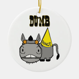 Dumb Ass with Dunce Cap Schnozzle Donkey Ceramic Ornament