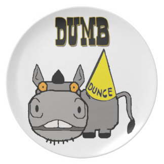 Dumb Ass with Dunce Cap Schnozzle Donkey Melamine Plate
