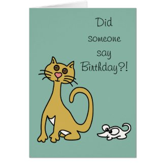 Dumb Cat and Mouse Cartoon Funny Birthday Greeting Card