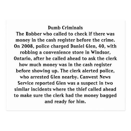 Dumb Criminals Postcards