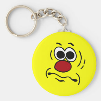 Dumb Smiley Face Grumpey Keychain