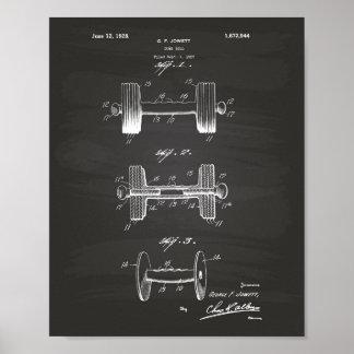 Dumbbell 1928 Patent Art - Chalkboard Poster