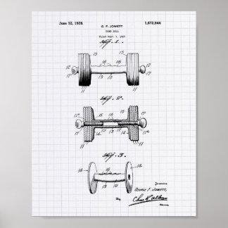 Dumbbell 1928 Patent Art - Lined Peper Poster