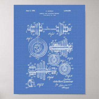 Dumbbell 1953 Patent Art Blueprint Poster