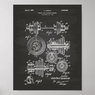 Dumbbell 1953 Patent Art Chalkboard Poster