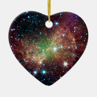 Dumbbell Nebula Double-Sided Heart Ceramic Christmas Ornament