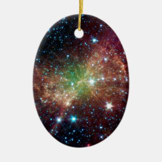 Dumbbell Nebula Double-Sided Oval Ceramic Christmas Ornament