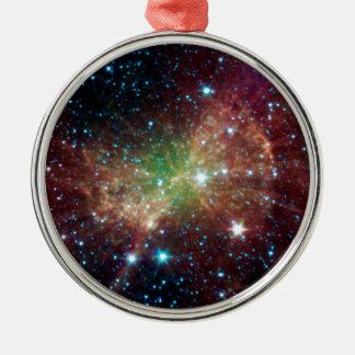 Dumbbell Nebula Round Metal Christmas Ornament