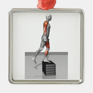 Dumbbell Step Up 4 Square Metal Christmas Ornament