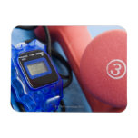Dumbbells and stopwatch rectangular magnet