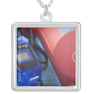 Dumbbells and stopwatch silver plated necklace