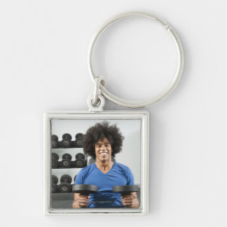 Dumbbells Silver-Colored Square Keychain