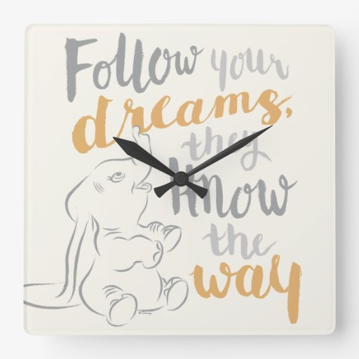 Dumbo | Follow Your Dreams Square Wall Clock