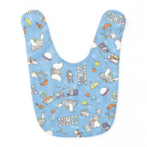 Dumbo | Fun Little Blue Pattern Baby Bib