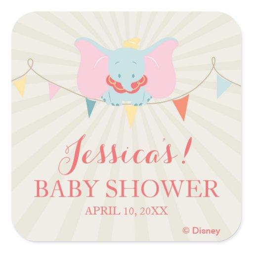 Dumbo   Girl Baby Shower Square Sticker