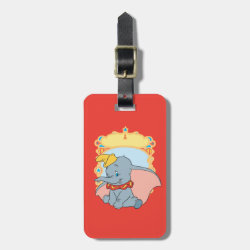 Small Luggage Tag with leather strap with Fred Monster Stylized design
