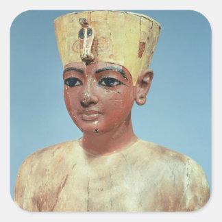 Dummy de llevar joven de Tutankhamun Pegatina Cuadrada