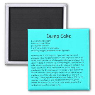 Dump Cake Recipe on a Refrigerator Magnet
