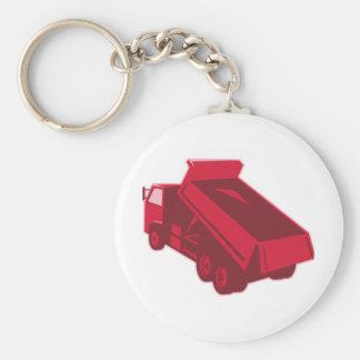 dump dumper truck dumping load rear basic round button keychain