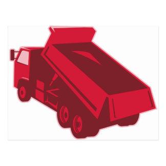 dump dumper truck dumping load rear postcard