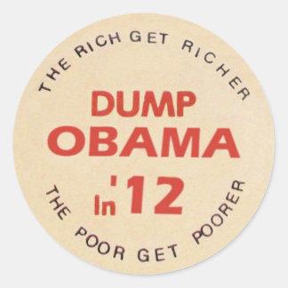 Dump Obama in '12 Classic Round Sticker