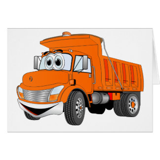 Dump Truck 2 Axle Orange Cartoon Card
