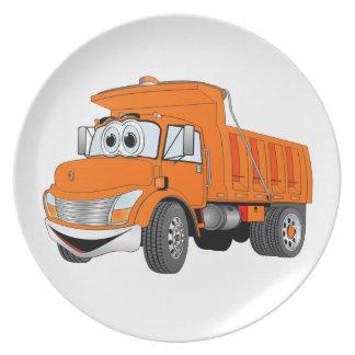 Dump Truck 2 Axle Orange Cartoon Melamine Plate